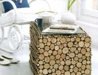 imagen Mesa de living con troncos