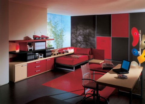 Estilo moderno usando rojo y negro - Black white and red bedroom decorating ideas ...