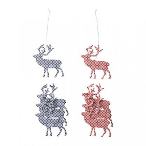 Decoración con renos, con cordón para colgar. Precio por 4 unidades € 1,99