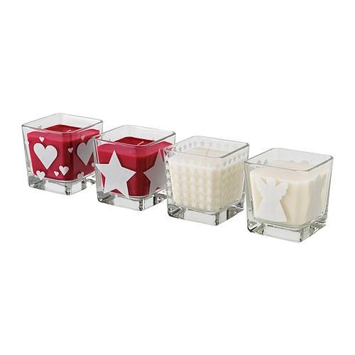 Hermosas velas con recipiente de vidrio decoradas. Precio € 2,99