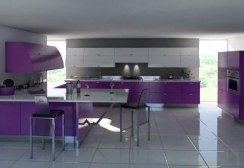 Cocinas modernas en color violeta y p rpura - Cocina color lila ...