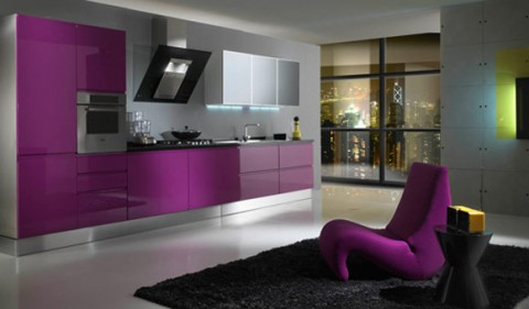 cocinas modernas en color violeta y p rpura. Black Bedroom Furniture Sets. Home Design Ideas