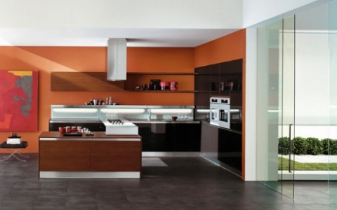 Modernas y sofisticadas cocinas en color naranja