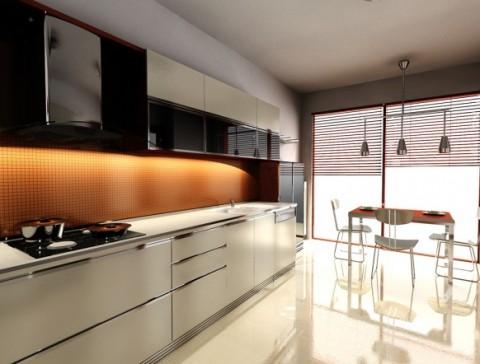 Modernas y sofisticadas cocinas en color naranja-07