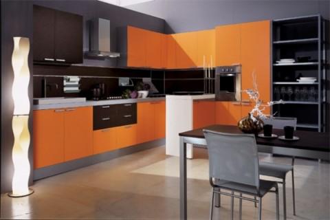 Modernas y sofisticadas cocinas en color naranja-08