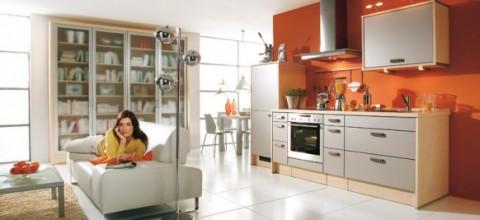 Modernas y sofisticadas cocinas en color naranja-16