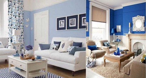 Blanco y azul dos colores para tu sala for Decoracion de sala gris y azul