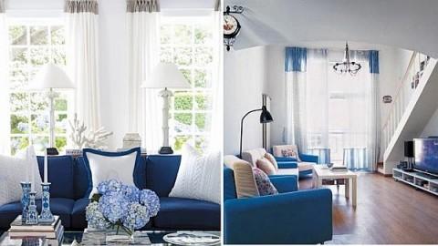 Blanco y azul dos colores para tu sala for Color paredes para muebles oscuros