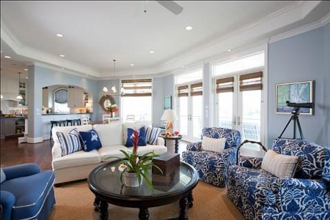 blanco y azul dos colores para tu sala