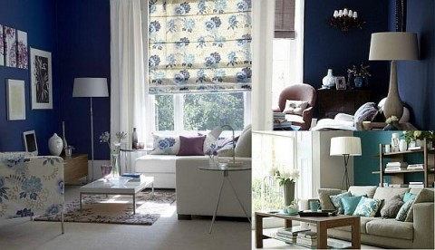 Blanco y azul, dos colores para tu sala