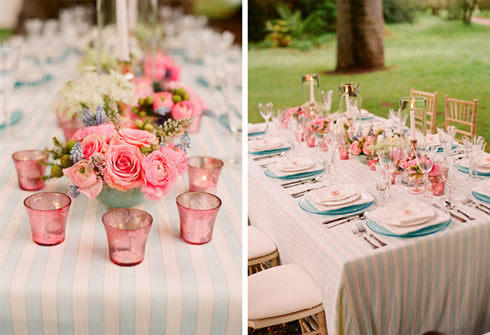 Decoracion rosa y azul para una comida en el jard n for Decoracion mesas de jardin