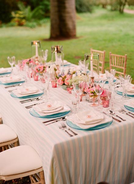Decoracion rosa y azul para una comida en el jard n for Decoracion de eventos vintage