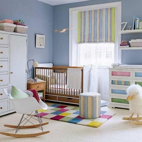 Texturas y colores en la habitación del bebé