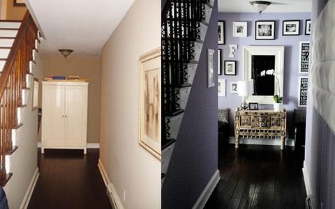 Antes y Después de un Pasillo y Escalera