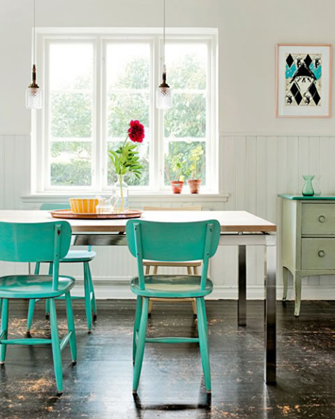 Un hogar colorido y de estilo vintage