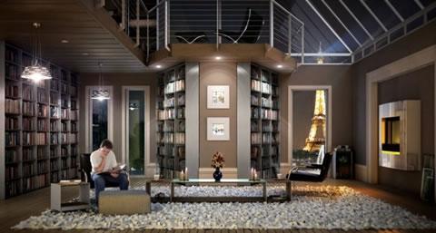 bibliotecas con una decoraci n muy moderna. Black Bedroom Furniture Sets. Home Design Ideas