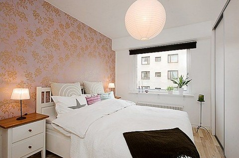 Dormitorios escandinavos for Dormitorios empapelados y pintados