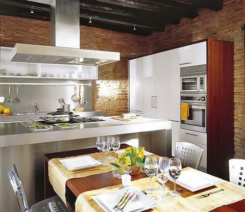 Cocina de combinaci n moderna y r stica - Decoracion rustica y moderna ...
