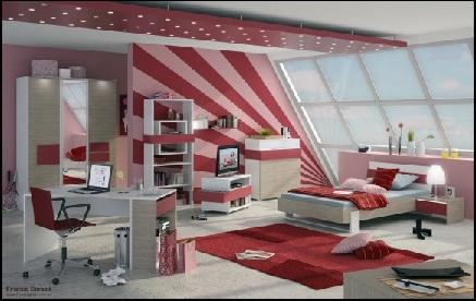 Diseño de habitación para adolescentes