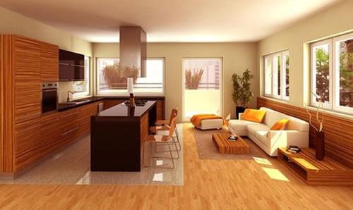 Separando los ambientes mediante el piso for Pisos para sala comedor y cocina