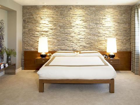 Ideas para decorar tu dormitorio con piedra - Lampara para dormitorio moderno ...