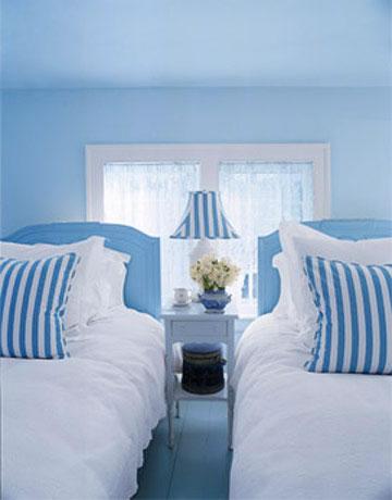 Habitaciones en celeste y azul for Blue beach bedroom ideas