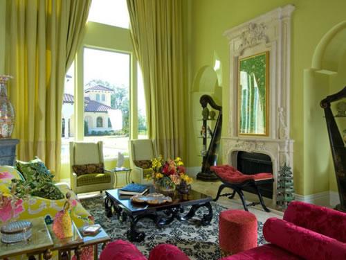 El color verde para la sala for Cortinas verdes para salon