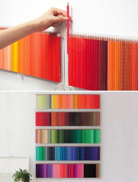 Mural con lápices de colores para la sala