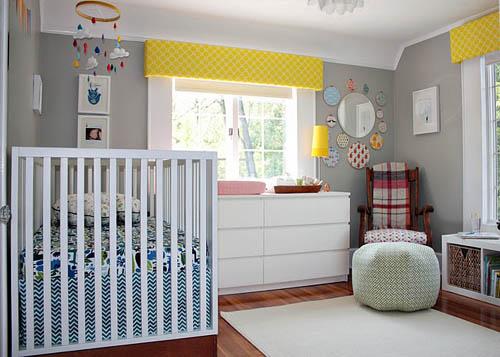 Habitación para bebés con detalles retro 1