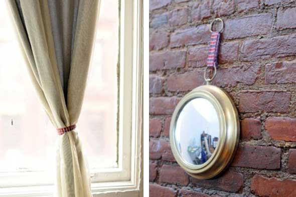 5 ideas para decorar con cintas de tela for Como colgar un espejo en la pared