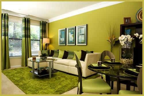 Color verde en las salas for Colores de muebles de sala