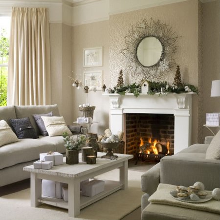Diez salones decorados para navidad Wallpaper and paint ideas living room
