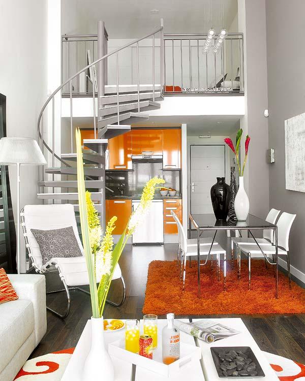 Apartamento decorado en naranja 2
