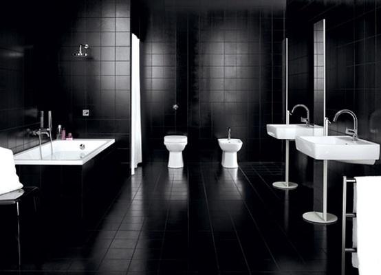 Cuarto de ba o en color negro - Bathroom black tiles ideas ...