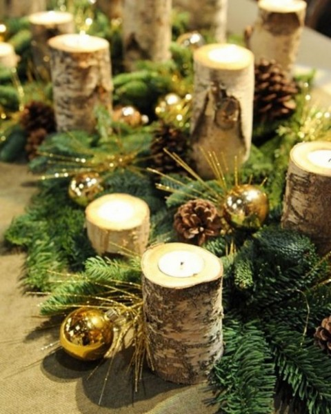 Decoraci n con pi as en la mesa de navidad - Centros de navidad originales ...