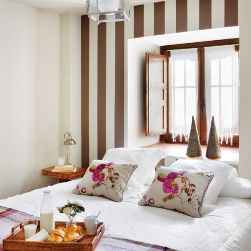Dormitorios con decoraci n a rayas - Pintar paredes a rayas horizontales ...