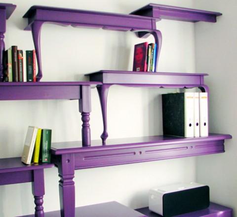 Elegantes estanter as vintage con mesas recicladas for Arredamento originale