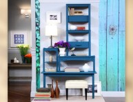 imagen Elegantes estanterías vintage con mesas recicladas
