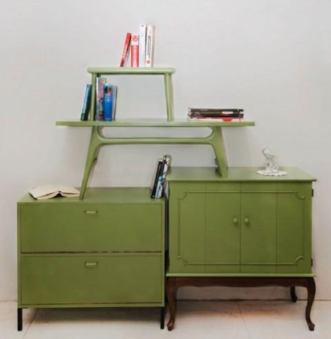 Elegantes estanter as vintage con mesas recicladas - Muebles reciclados vintage ...
