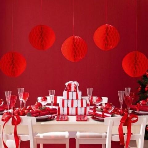 decoración navideña en rojo 1