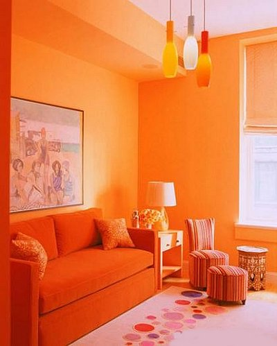 Color naranja en la decoraci n - Habitaciones color naranja ...