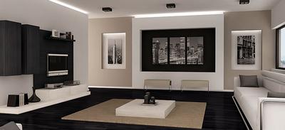 Salones minimalistas en blanco y negro for Decoracion de salones minimalistas