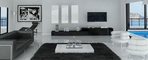 Salones minimalistas en blanco y negro for Muebles estilo moderno minimalista