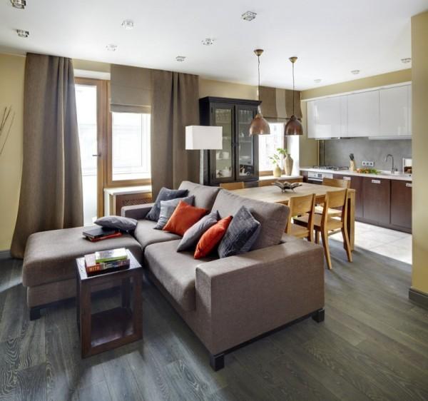 Un acogedor apartamento en mosc for Decoracion apartamento tipo estudio