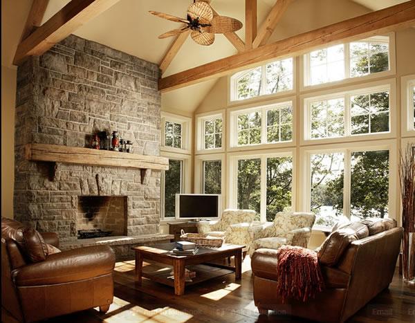 Casa de campo encantadora - Pared de piedra salon ...