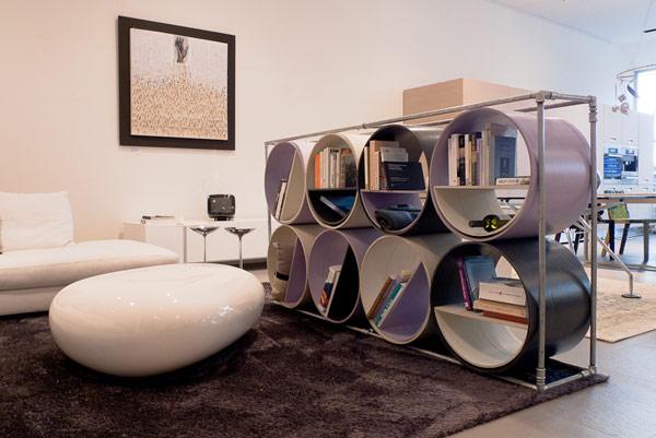 Estanter a hecha con tubos de celulosa - Muebles originales reciclados ...