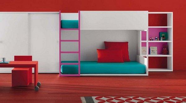 Habitaciones para ni os a todo color - Dormitorios con literas para ninos ...