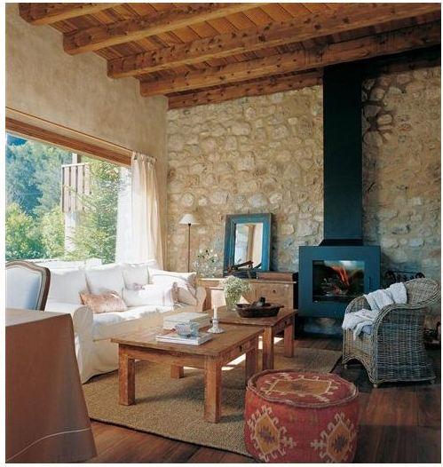 Una casa con vigas de madera for Colores para techos de casas