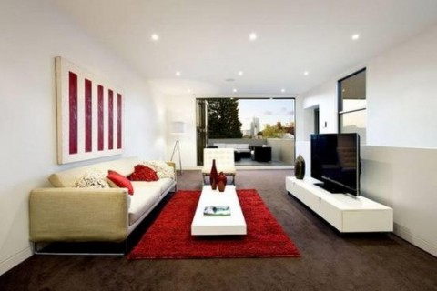 Una casa moderna en australia for Rectangular living room designs