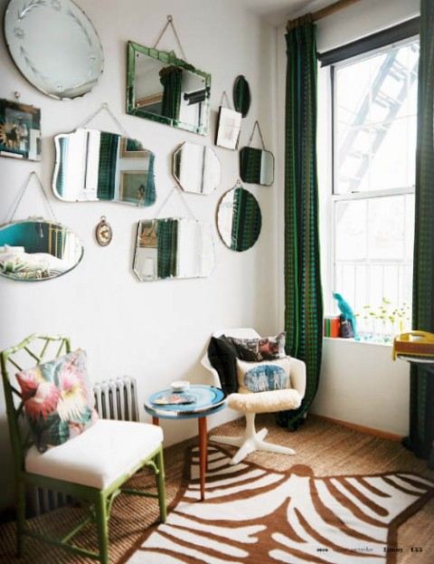 Ideas para decorar con espejos vintage for Espejos grandes de pared vintage